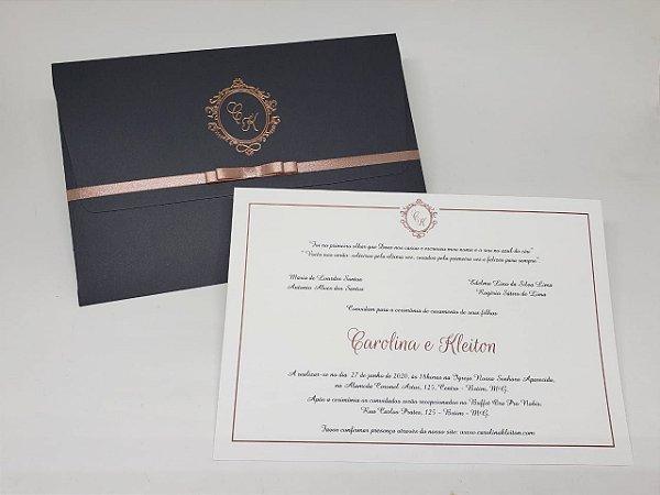 Convite casamento cinza Rosê Gold hotstamping