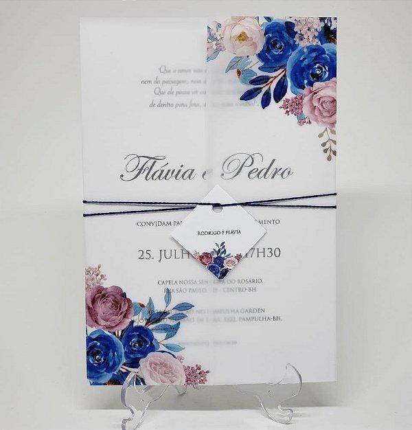 Convite casamento simples papel vegetal rose e azul