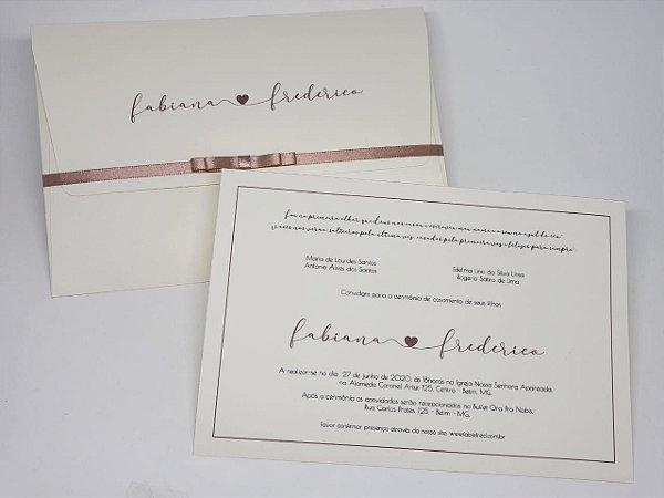 Convite casamento classico nome noivos nude