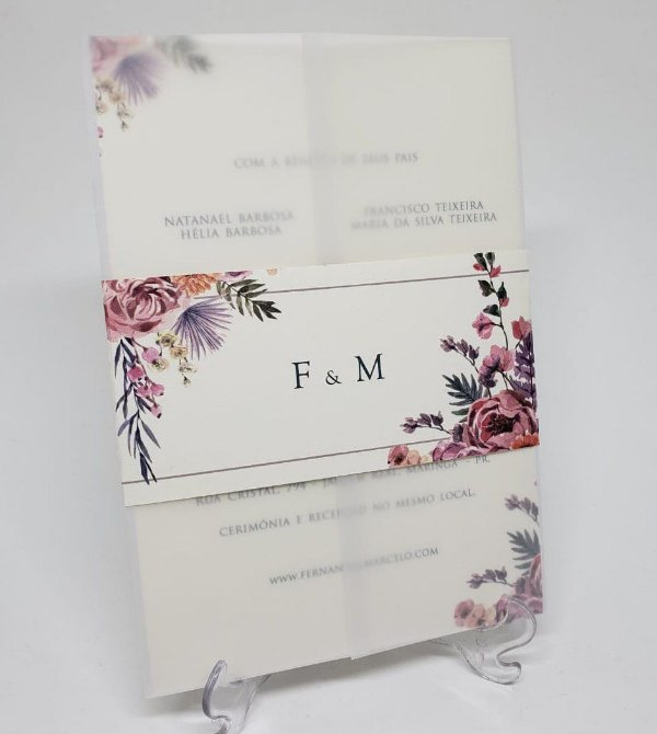 Convite casamento floral folk rose vegetal