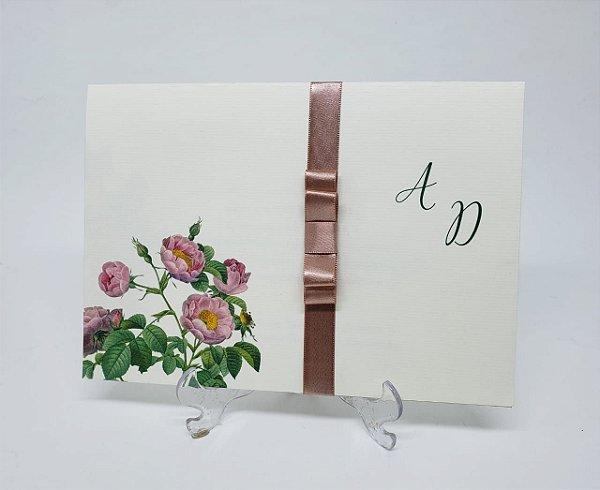 Convite casamento simples com flores
