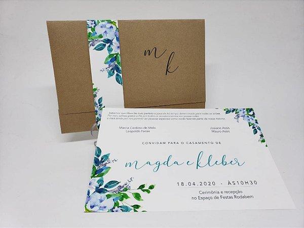 Convite casamento simples com faixa floral