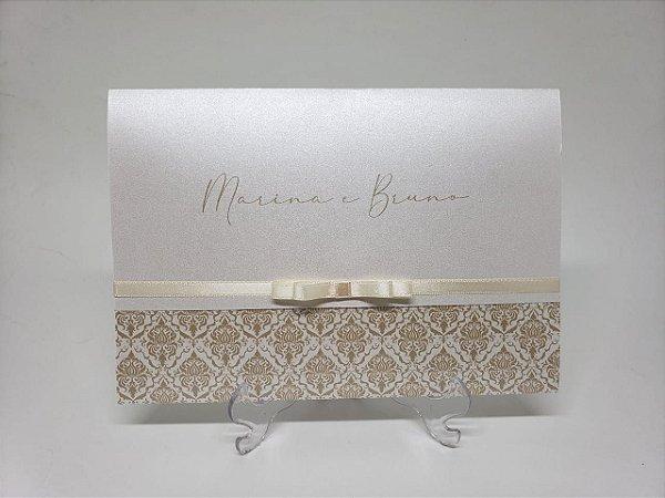 Convite casamento simples dourado