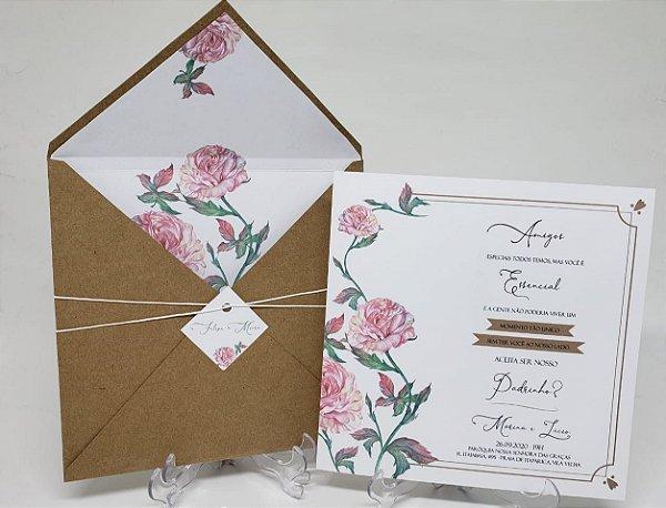 Convite padrinho de casamento forrado floral