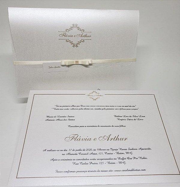 Convite de casamento classico perolado ASPEN 250g