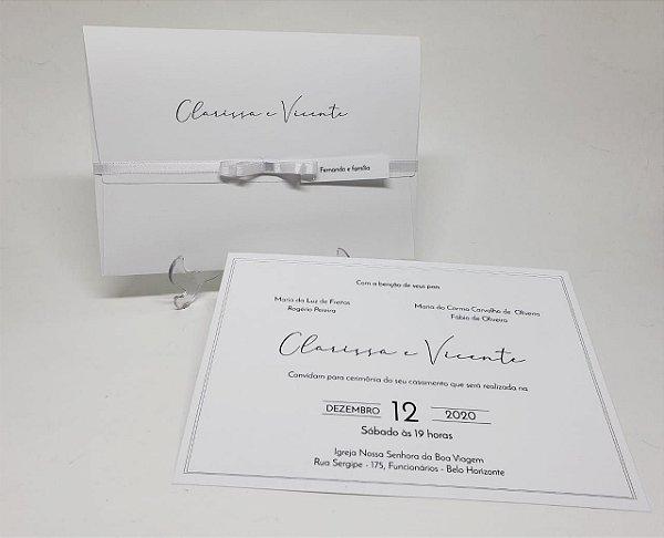 Convite casamento simples clássico branco