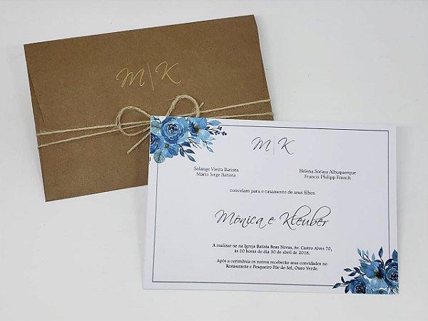 Convite casamento dourado e azul rustico