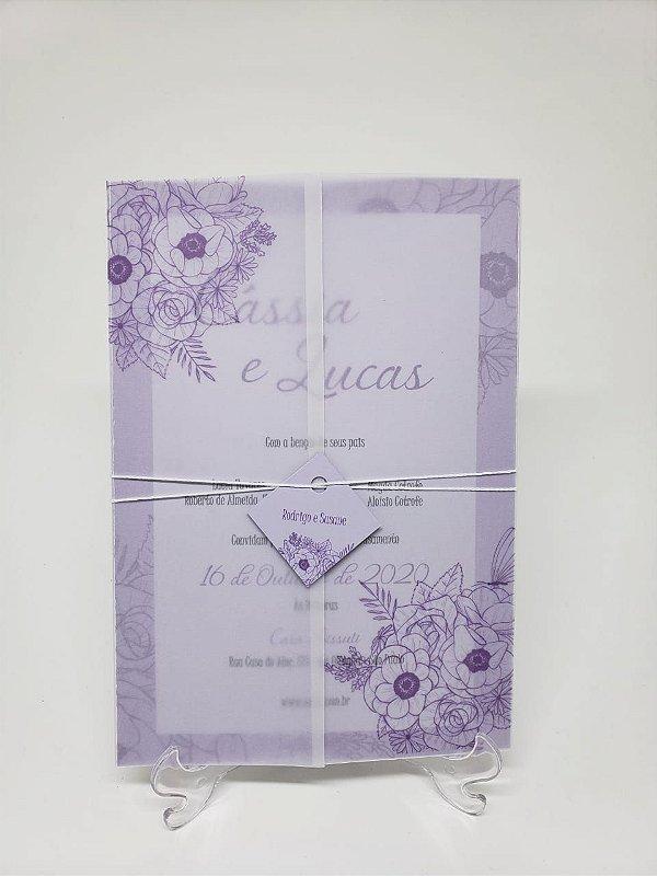 Convite casamento lilas papel vegetal