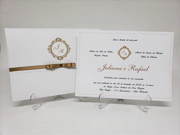 Convite casamento branco e dourado simples