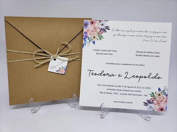 Convite casasmento kraft linhao com flores
