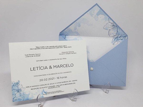Convite casamento azul serenity forrado