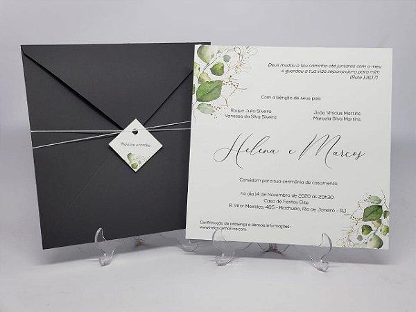 Convite casamento oferta cinza com folhas