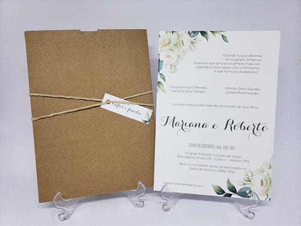 Convite casamento flores brancas