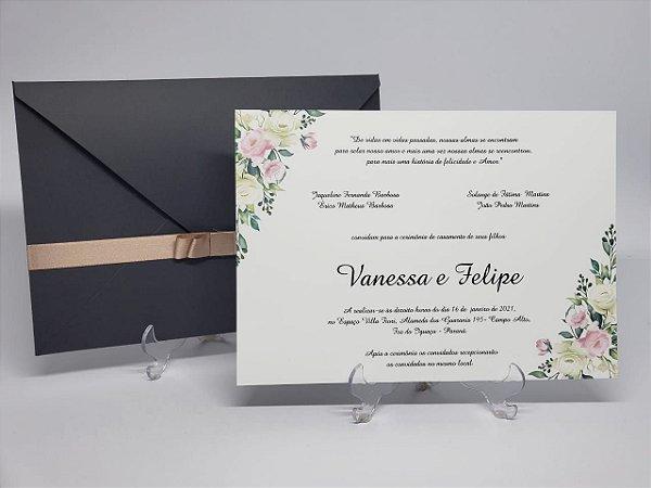Convite casamento cinza e rose floral