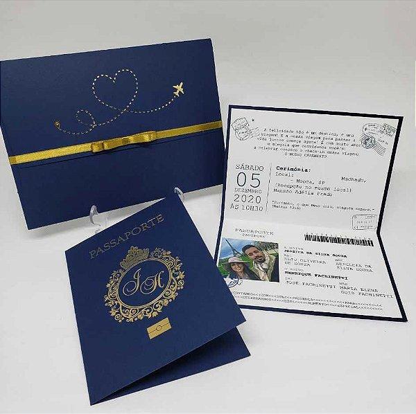 Convite casamento passaporte azul e dourado