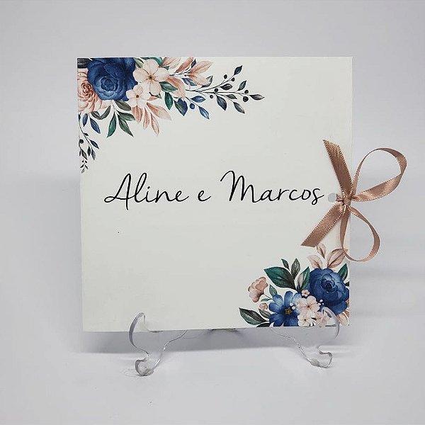 Convite casamento rosê e azul floral