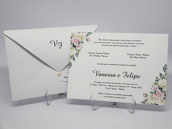 Convite para casamento classico com flores
