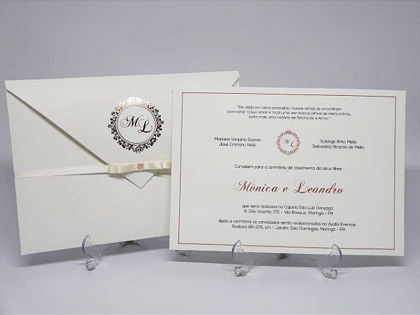 Convite de casamento classico branco e dourado Hotstamping