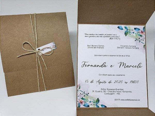 Convite casamento envelope rustico com flores em aquarela