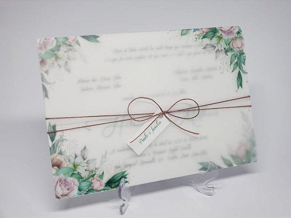 Convite casamento vegetal folhagens oferta