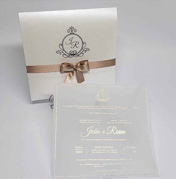 Convite de casamento dourado e rose Hotstamping