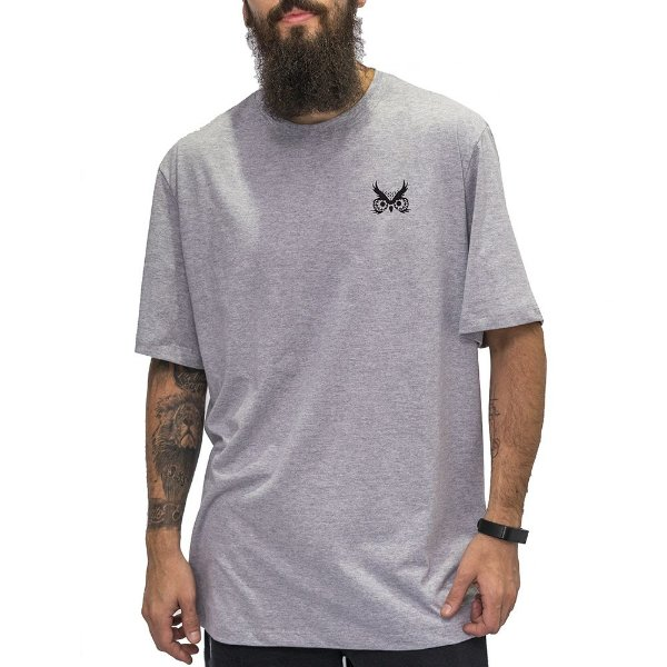 Camiseta Logo Básico - Mescla Cinza