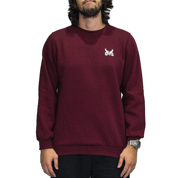 Blusa de Moletom Careca OWL Logo Básico - Bordô