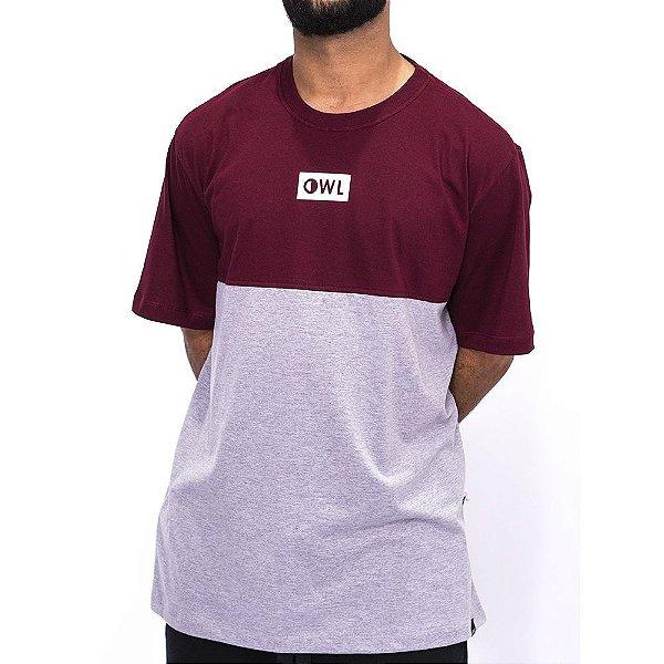 Camiseta Dublê Cinza e Bordô
