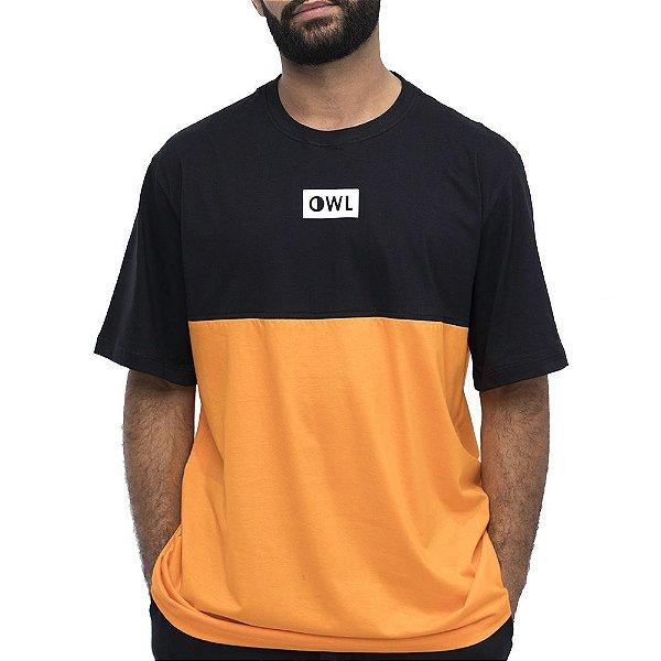 Camiseta Dublê Preta e Laranja