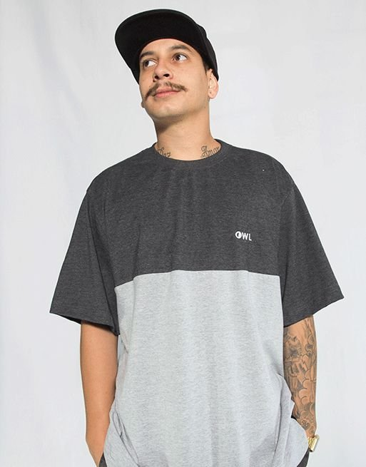 Camiseta Bordado Dublê - Chumbo e Cinza Mescla