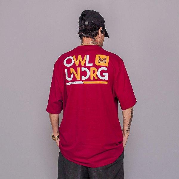 Camiseta Owl Mantenha sua Fé - Bordô