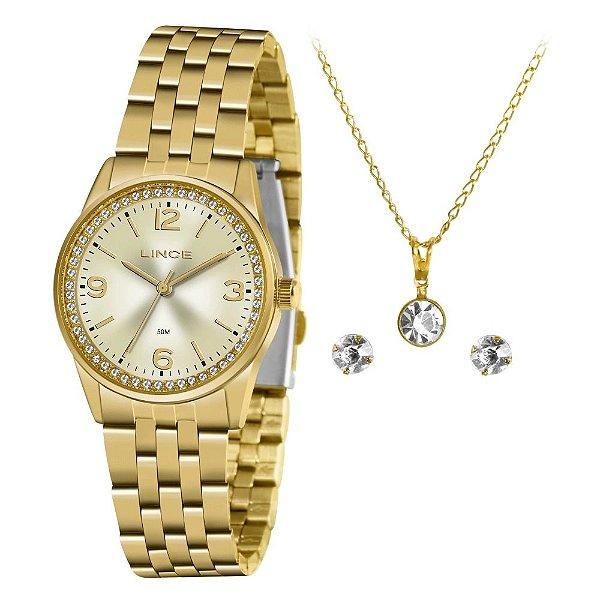 Kit Relógio Lince Feminino Dourado Kit Colar Brincos LRGJ114L KY68C2KX