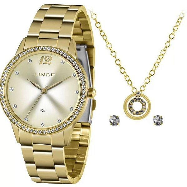 Kit Relógio Lince Feminino Funny Dourado LRGJ119L-KY79C2KX