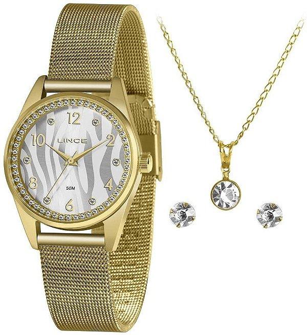 Relógio Lince Feminino Ref: LRGJ137l KZ46S2kX Dourado + Semijóia