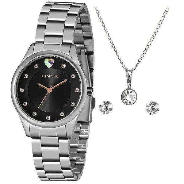 Kit Relógio Lince Feminino Ref: Lrmj138l Kz58p1sx Prateado + Semijóia