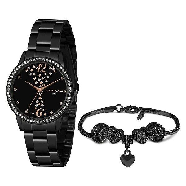 Kit Relógio Lince Feminino Preto LRNJ133L KN16 P2Px