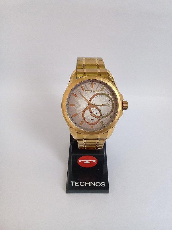 Relógio Technos Dourado Quartz Masculino 6P22AC 4C - Perolashop b386b41d32