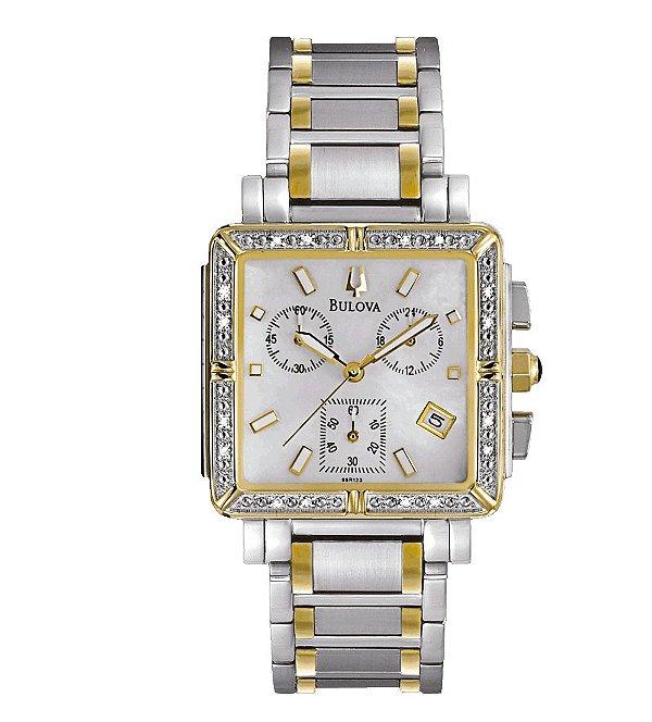 Relógio Bulova Diamond Chronograph Feminino WB27010S Analógico ... 92c68216f0