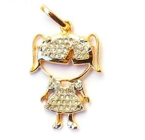 Pingente Ouro 18k Menina Com Pedra Zirconia