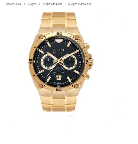 Relógio Orient Cronógrafo Dourado Preto MGSSC030 P1KX
