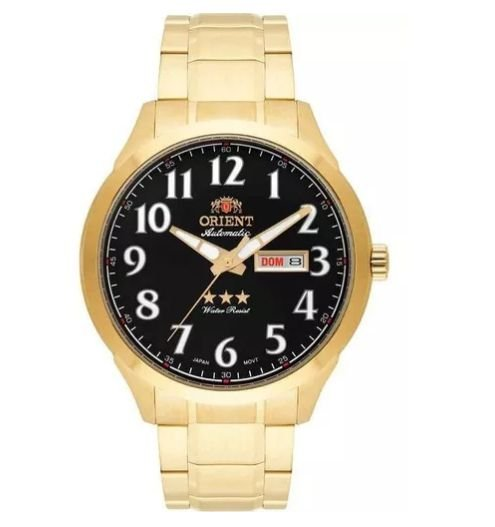Relogio Masculino Clássico Dourado Orient 469GP074 P2KX