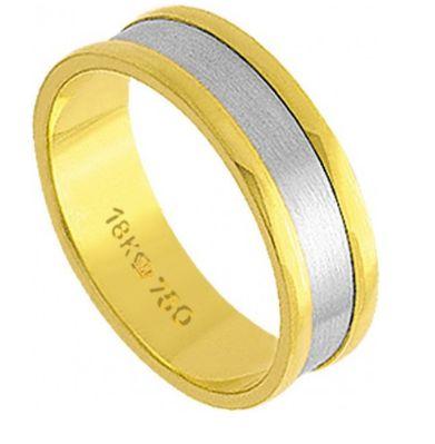 Aliança Ouro 18K Em Ouro Amarelo e Ouro Branco C293