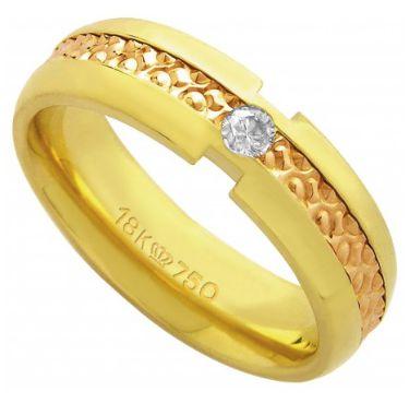 Aliança Ouro 18K Com Friso em Ouro Rosê e 1 Pedra de Brilhante C598R