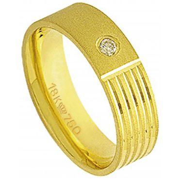 Aliança Ouro 18K Com 1 Pedra de Brilhante  C700R