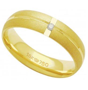 Aliança Ouro 18K Com 1 Pedra de Brilhante C711R