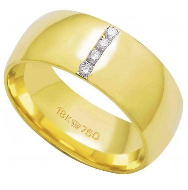 Aliança Ouro 18K Com 4 Pedras de Brilhante C765R