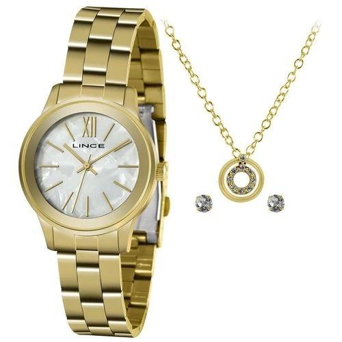 Kit Relógio Lince Feminino LRGH155L KZ60+ Colar E Brincos