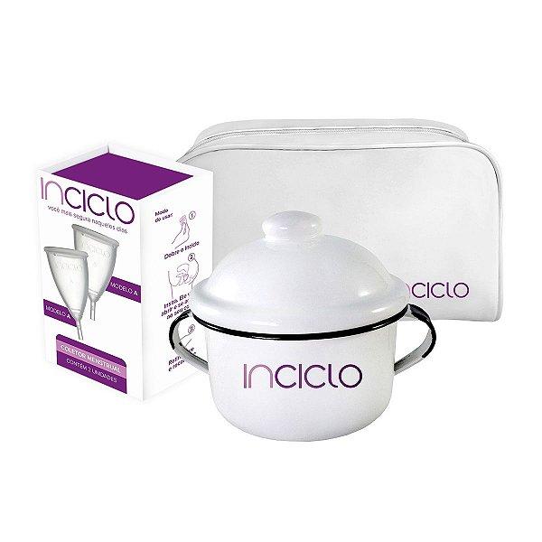 Kit Coletor Menstrual Novo Inciclo A (2 unidades) + Panelinha Inciclo + Necessaire