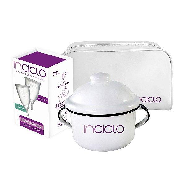 Kit Coletor Menstrual Novo Inciclo A + B (1 de cada modelo) + Panelinha + Necessaire