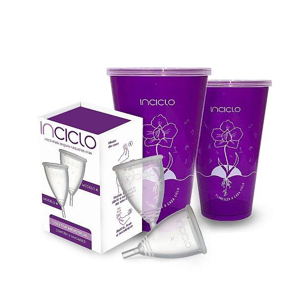 Kit Coletor Menstrual A (2 unidades) + Copo Esterilizador (2 unidades)